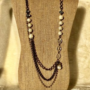 Jewelry - Antiqued Rhinestone & Pearl Triple Layer Necklace